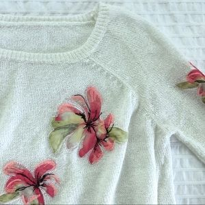 🌺 VINTAGE 00's 🌺 cropped embroidered knit top